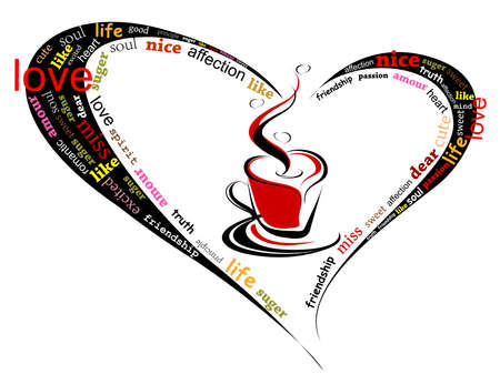 hot couple: heart made of love words with romantic coffee