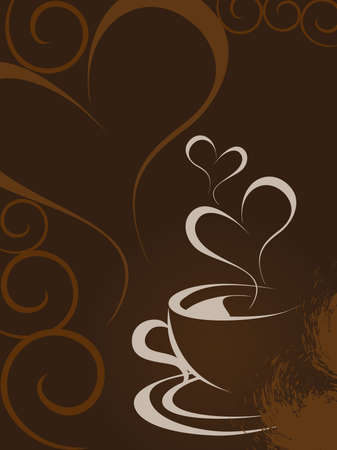 brown heart shape background with romantic coffee, vector Illustration