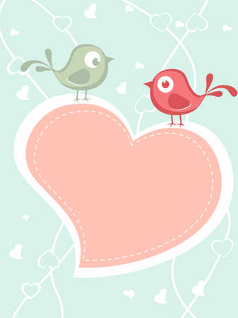 corazones: abstract love background with two birds on heart, vector