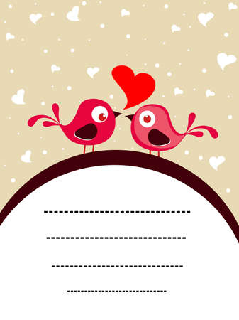 lady bird: romantic love birds concept background greeting card vector Illustration