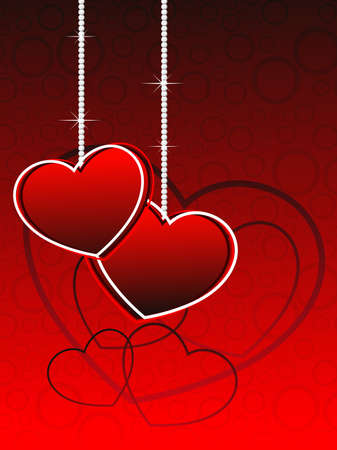 red hearts, circle background with hanging romantic heartshapes, vector illustration Vector