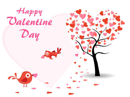 valentine day background with heart tree, love birds on another side