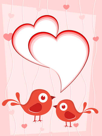 love birds concept romantic greeting card vector Illustration