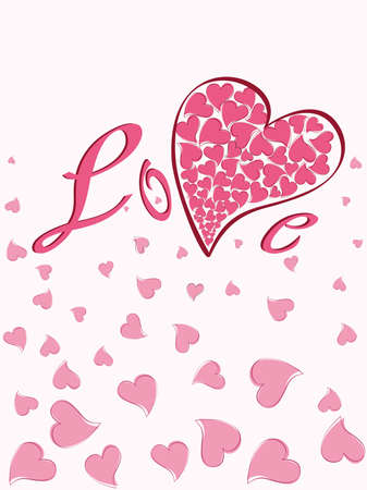pink heart on white background concept vector Vector