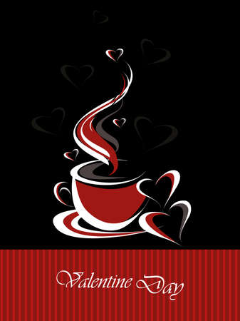 romantic valentine day concept background with hot coffee Vector