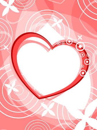 corazones: abstract heart on circle concept background with white floral.