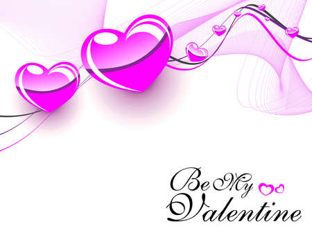 Vector wave  background with shiny pink hearts concept valentine card. Vector