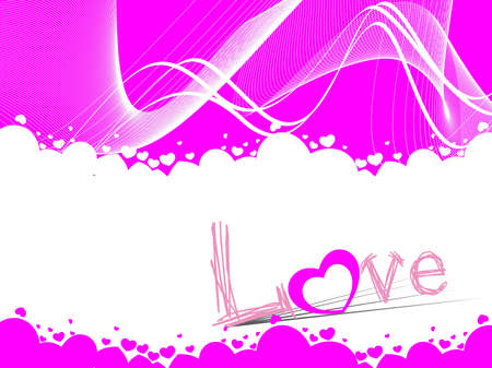 abstract wave background with artistic love text greeting card Vector