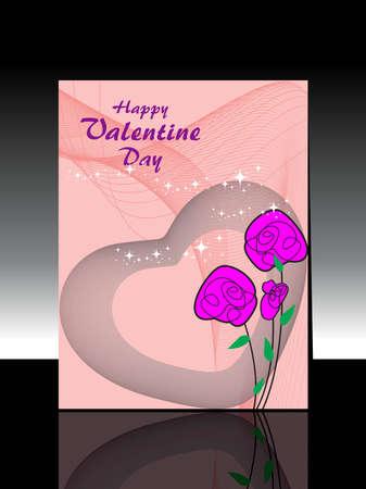 ola resumen, fondo artístico romántico corazón con rosa Ilustración de vector