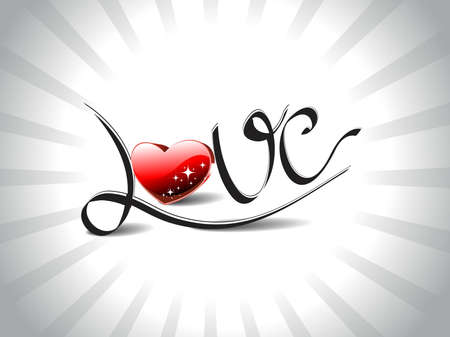 grey rays background with atrtistic love text with shiny red heart Vector