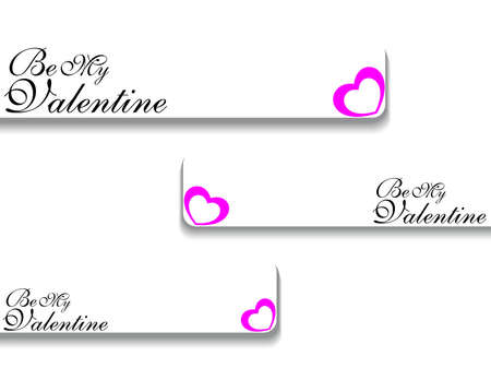 corazones: background with set of three valentine day banner vector Illustration