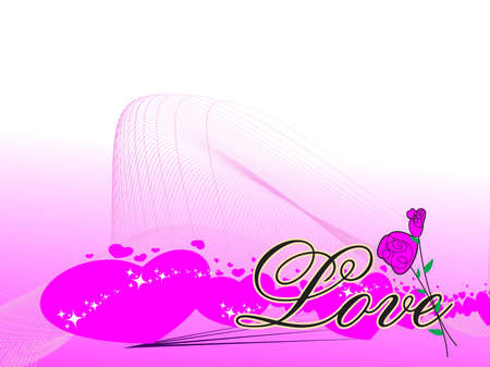 vector magenta wave, hearts background for love greeting card with artistic rose Vector