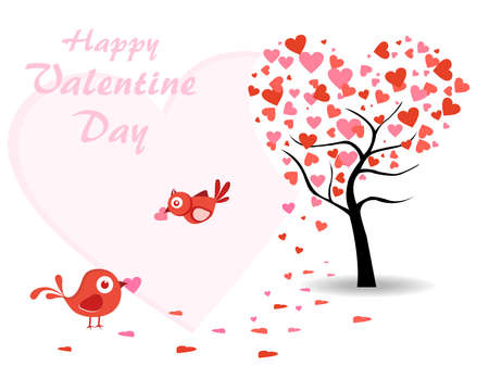 corazones: abstract heart tree background with cute birds showing love Illustration