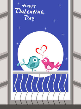 Night background with cute love bird sitting on window Stock Vector - 12015024