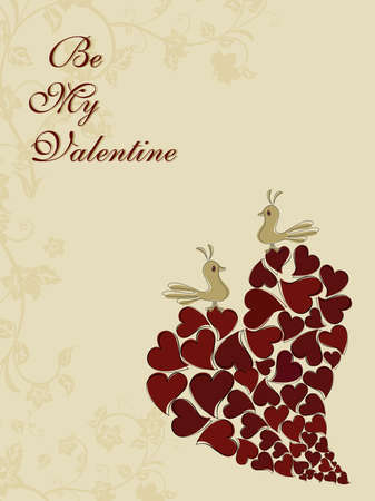 seamless floral background with bird sitting on micro hearts design one big heart Vector
