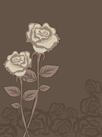 abstract couple of roses on rose pattern background for valentine Vector