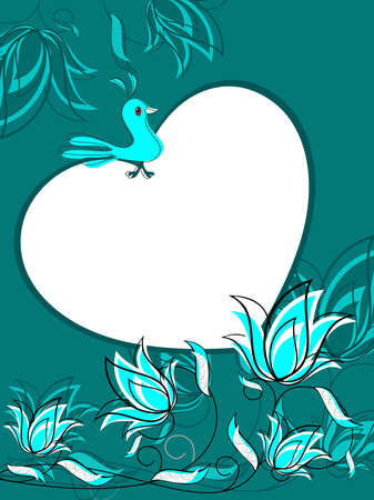 green creative floral design background with bird sitting on heart Vector