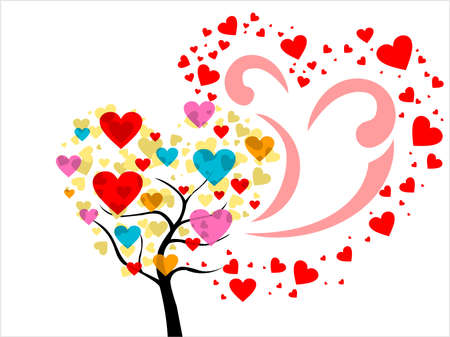 corazones: white background with colorful heart tree, vector romantic background Illustration