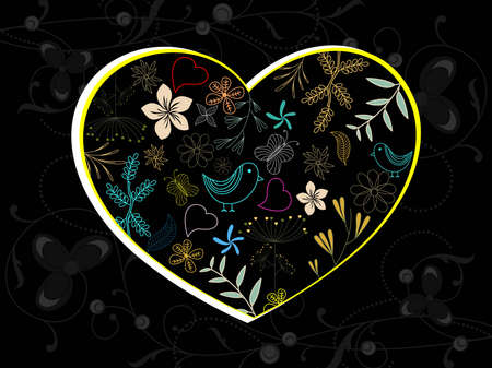 abstract black floral pattern background with colorful creative artwork decorated heart Vector