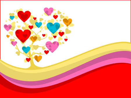 corazones: abstract wave background with colorful heart tree, vector love theme