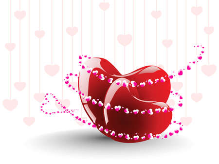 pink hanging heart pattern background with romantic glossy heart Stock Vector - 12015069
