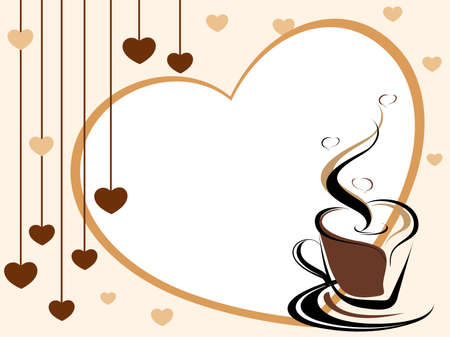 valentine day cup of coffee: heart background with romantic coffee design vector