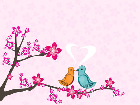 pink seamless bloom pattern background with cute love birds sitting on tree branch Vector