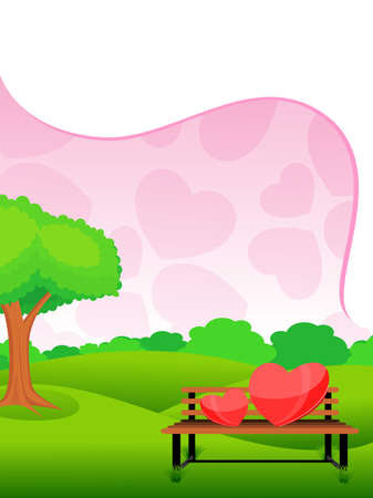 garden, nature background with heart on bench, vector love garden Stock Vector - 12015065