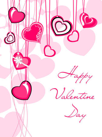 romantic hanging heart concept greeting card for valentine day Vector