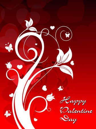 creative floral design on red heart shape background vector for valentine day Vector