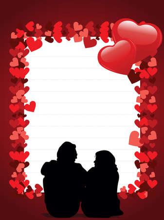 Greeting card with a love couple and copy space  on hearts shape concept background for valentine day. Vector