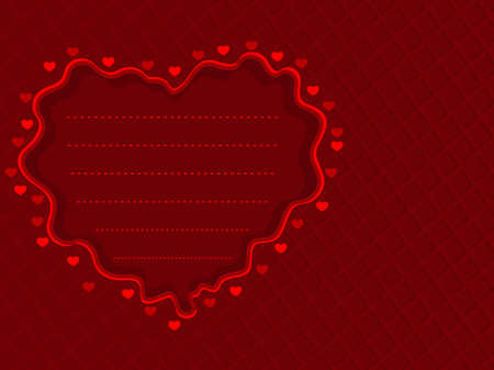 other space: illustration of a red decorative heart shape with copy space on maroon color background for Valentines Day and other occasions.