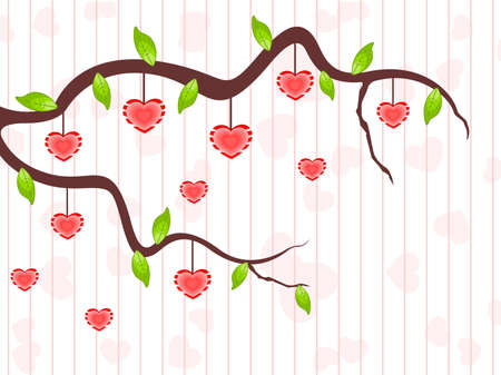 A love tree brans having hanging heart shapes and leafs on seamless line background for Valentines Day and other occasions. Vector
