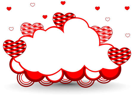 illustration of a frame in cloud shape decorated with red and white hearts and copy space for Valentines Day and other occasions. Illustration