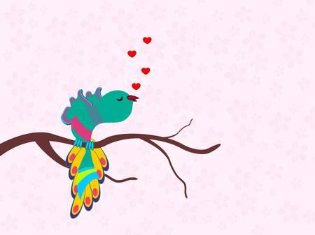 A beautiful colorful bird singing a song with heats on seamless floral background for Valentines Day and other occasions. Vector