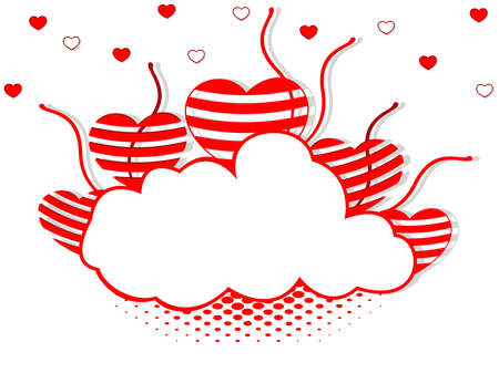other space: illustration of a frame in cloud shape decorated with red and white hearts and copy space for Valentines Day and other occasions. Illustration