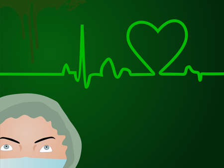 Vector illustration of a medical background with heart beat and a nurse on green. Stock Vector - 12487293