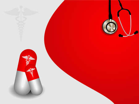 vector seamless medical symbol  on red background with pill and stethoscope. Stock Vector - 12487833