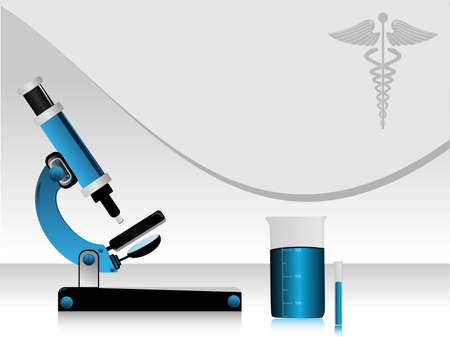 Vector illustration of a medical high tech science abstract background, with microscope, beker, medical symbol