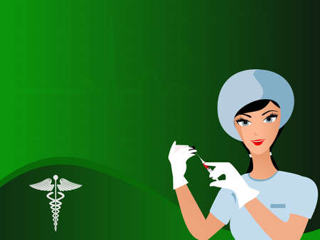 nursing uniforms: vector seamless heart beat green color background with uniformed nurse having needle in hand