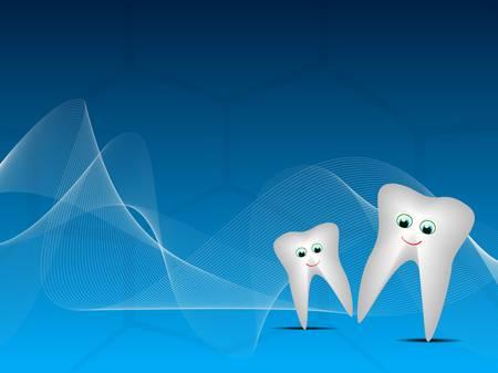 karies: Vektor illustration lyckliga tänder på blå våg dental bakgrund.