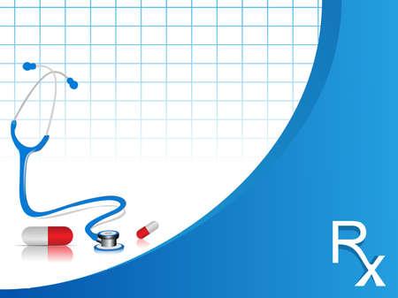 infermiere paziente: illustrazione vettoriale stetoscopio con le pillole su sfondo di colore blu e bianco. Vettoriali
