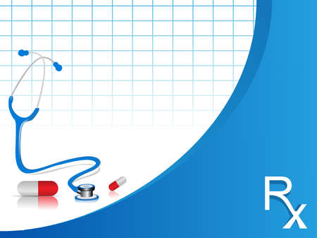 disease prevention: vector stethoscope illustration with pills on blue and white color  background.