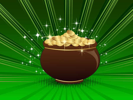 Vector illustration of a abstract st patricks pot . Vector
