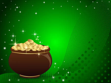 vector illustration of a st. patrick pot on dotted and wave background. Vector
