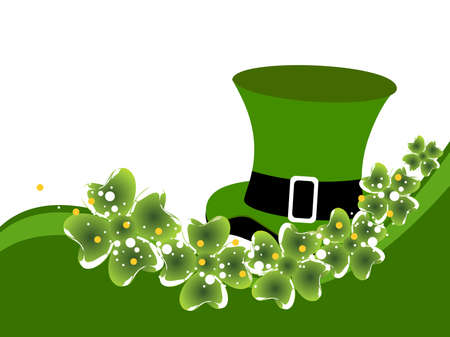 St. Patrick's background with hat, clovers and space for your taxt. Stock Vector - 12487785