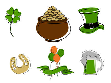 vector setof a Saint Patricks Day symbols on white isolated background. Vector