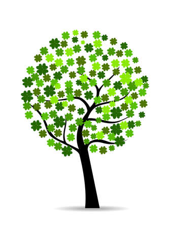 A beautiful colover tree on white isolted background for St. Patricks Day.