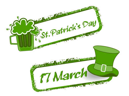 st patrick's day: Green grunge rubber stamp with Beer mug,cap and the text St. Patricks Day written inside, vector illustration