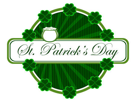 batch: A beautiful batch having clover, cauldron and text for St. Patricks Day. Vector